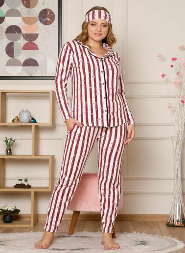 Akbeniz Kadın Pamuklu Düğmeli Cepli Şardonlu Uzun Kol Pijama Takım 2493 Bordo